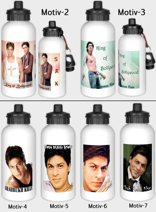 Alu Trinkflasche mit 7 verschiedenen Shahrukh Khan Motiven