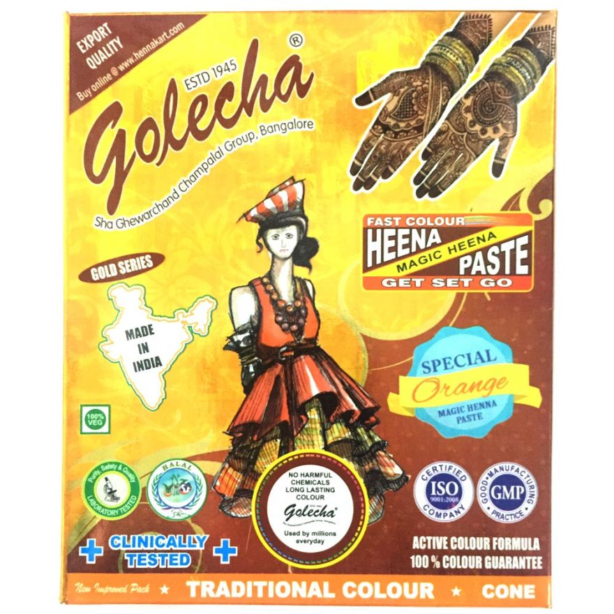 3x Golecha Special Magic Henna Paste - Orange (Ohne Chemie) 75g