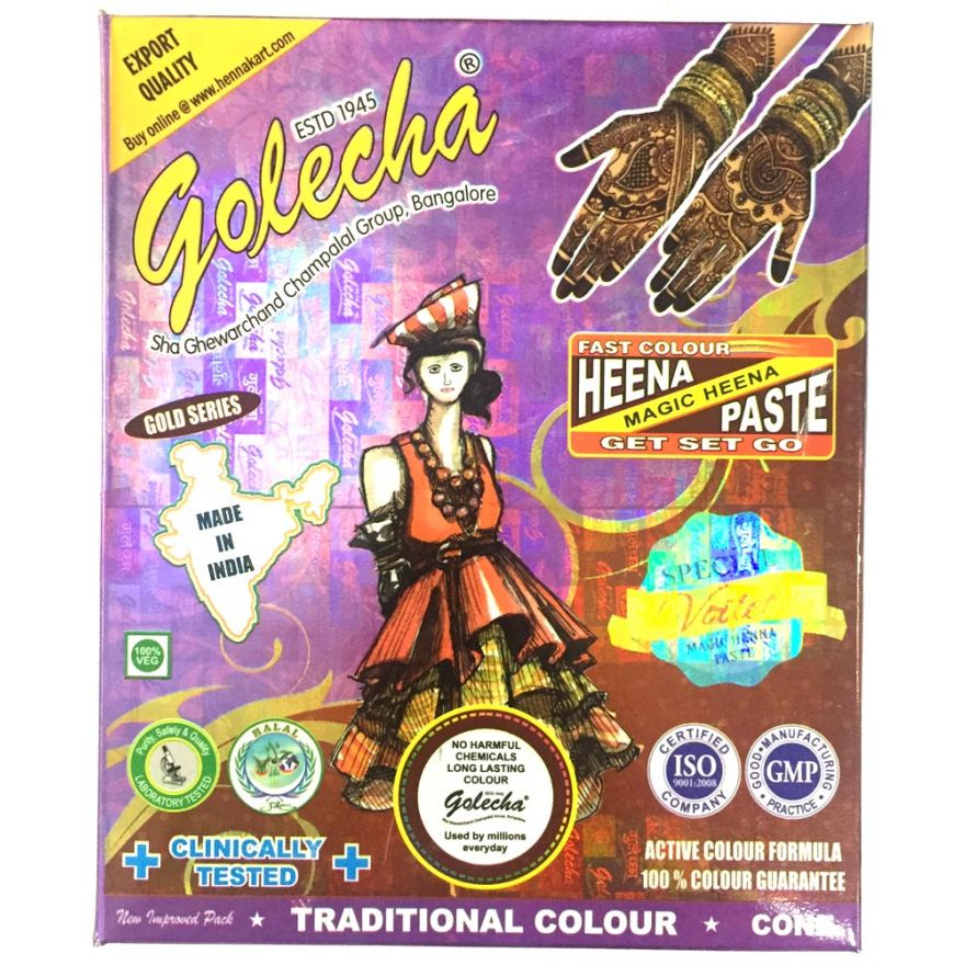 10x Golecha Special Magic Henna Paste - Violett (Ohne Chemie) 250g