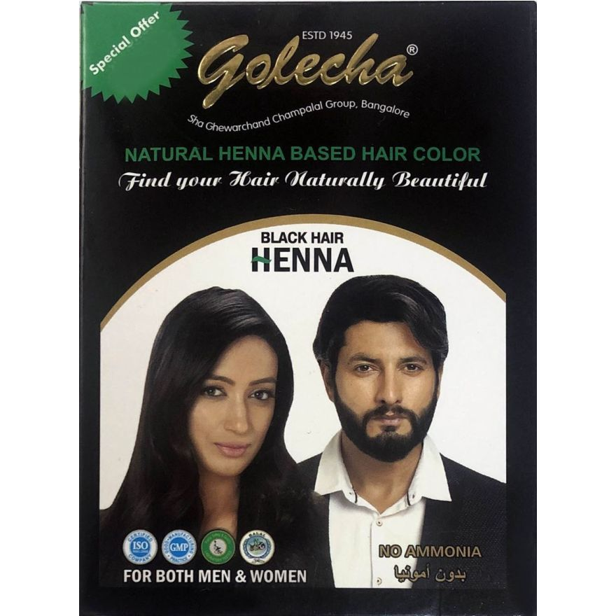 Golecha Natural Henna Hair Color - Black (5x10g)