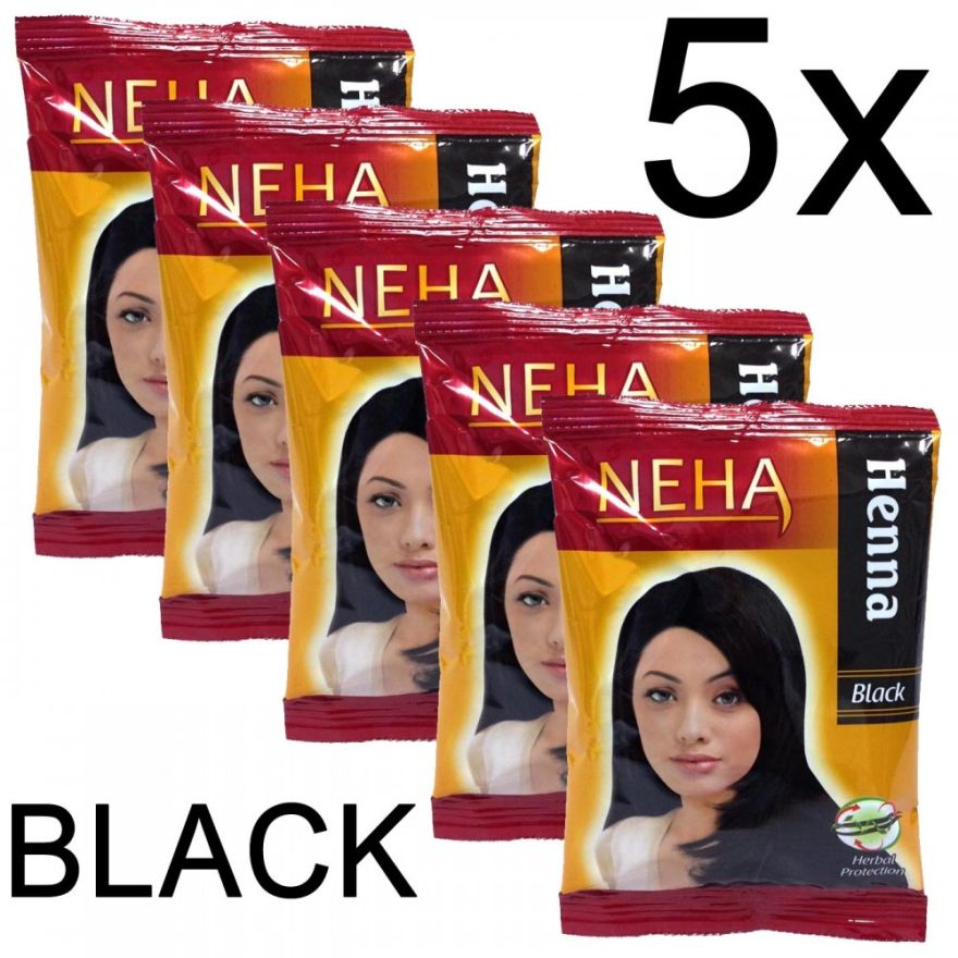 5x Neha Herbal Henna Hair Powder - Haarfärbemittel (Schwarz) 100g
