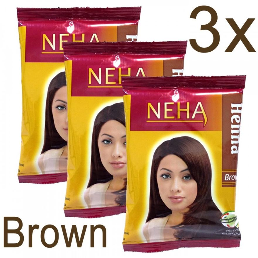 3x Neha Herbal Henna Hair Powder - Haarfärbemittel (Braun) 60g