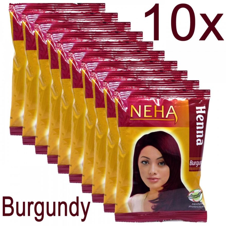 10x Neha Herbal Henna Hair Powder - Haarfärbemittel (Burgundy) 200g