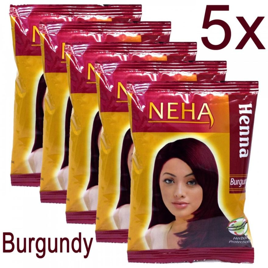 5x Neha Herbal Henna Hair Powder - Haarfärbemittel (Burgundy) 100g