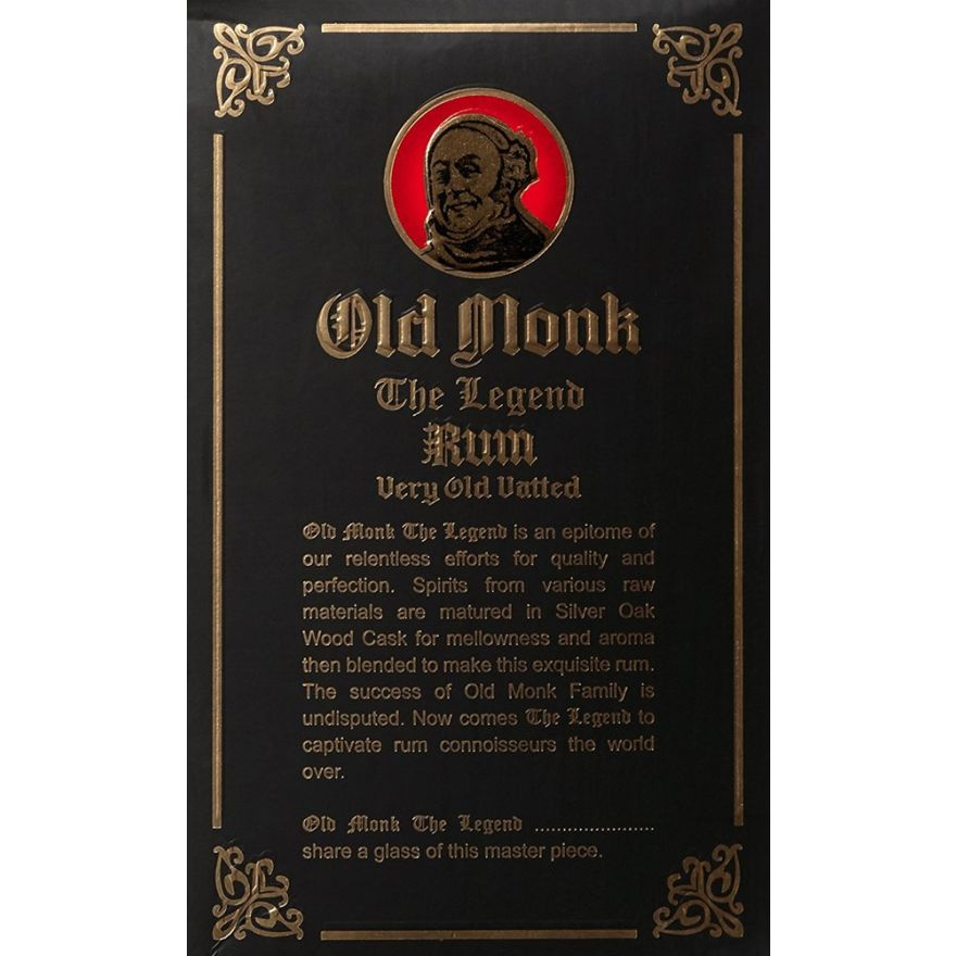 Old Monk The Legend Rum in Mönchkopf (18-jähriger Rum, 42,8%) 1 Liter