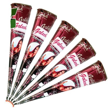 Golecha Henna Paste Cones 100 Natural Red Brown