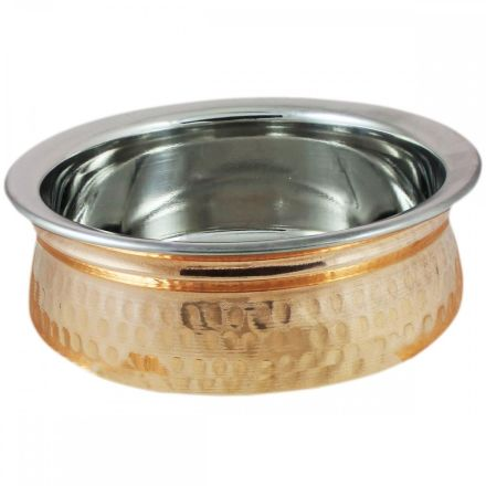 SET OF 4 Copper Stainless Steel Bowl Handi Set Serving Bowls for Curry Rice