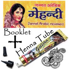 Golecha Henna Tube BLACK + Henna Booklet with Pattern