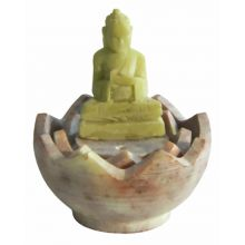 Incense Holder, Soapstone Buddha in lotus flower