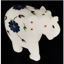White Marble Elephant Statue with colorful mosaic Flowers (8x7x4 cm, 280gms)