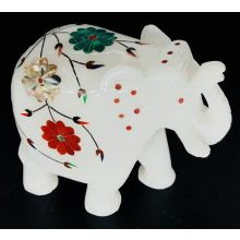 White Marble Elephant Statue with colorful mosaic Flowers (11x10x5 cm, 650gms)