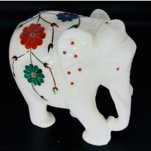 White Marble Elephant Statue with colorful mosaic Flowers (11x10x6 cm, 800gms)