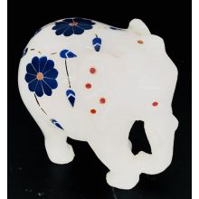 White Marble Elephant Statue with colorful mosaic Flowers (8x7x5 cm, 350gms)