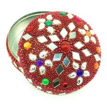 Decorated jewelry Box with mirror & beads work, Lac Item