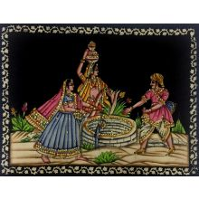 Indian fountain - Wall painting with sequined work (120x82 cm)