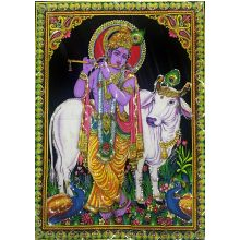 Shiva carriage - Wall painting with sequined work (110x80 cm)