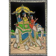 Indian Elefant - Wall painting with sequined work (120x82 cm)