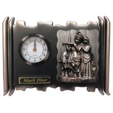 Radha Krishna hanging picture with clock (25x33x5cm)