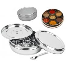 Masala Dabba - High Quality Stainless Steel Spice Tin Box with additional covering plate