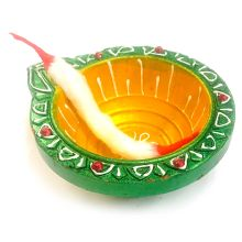 Fancy Clay Puja Diya with Cotton Wick (Green)