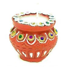 Diwali Matka Clay Puja Diya (Red)