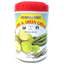 Pachranga Mango, Lime & Green Chillies Pickle (Limette & Grüne Chilis Pickle in Öl) 800g