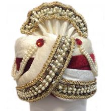 Fancy Man-Turban for Carnival, Wedding etc. | Richly decorated with white pearls | Flexible Size