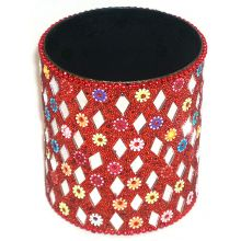 Colorful Pen Container - Studded with Little Mirrors & Pearls