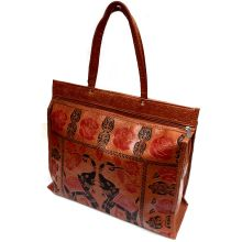 Beautiful Spacious Carrybag made from Pleather and Covered by Indian Motif