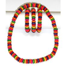 Necklace / Bracelet with Wooden Beads - Elastic Necklace