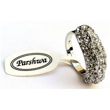 Beautiful Silvered Ring with Shining Rhinestones / Adaptational Size