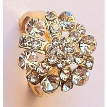Beautiful Gilded Ring with Shining Rhinestones / Adaptational Size