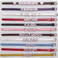 Leather Bracelet with your arbitrary Name in Crystal letters (e.g. Bollywood, Shahrukh, Kajol)