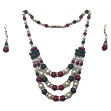 Two-piece beaded jewelry-set (earrings, chain)