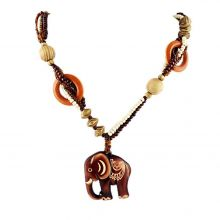 Necklace with wooden elephant, ethnic long casually beads, handmade