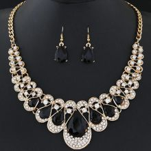 2 piece jewelry set, crystal rhinestone necklace & earrings (Black)