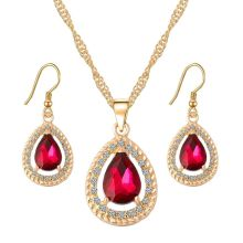 2 piece jewelry set, crystal drops rhinestone (earrings, chain)
