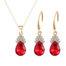 2 piece jewelry set, crystal drops rhinestone (earrings, chain) ROT