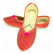Women Handmade Lether Khussa Slippers with Pearls work