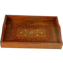 Sheesham Wooden Serving Tray with fine brass inlay