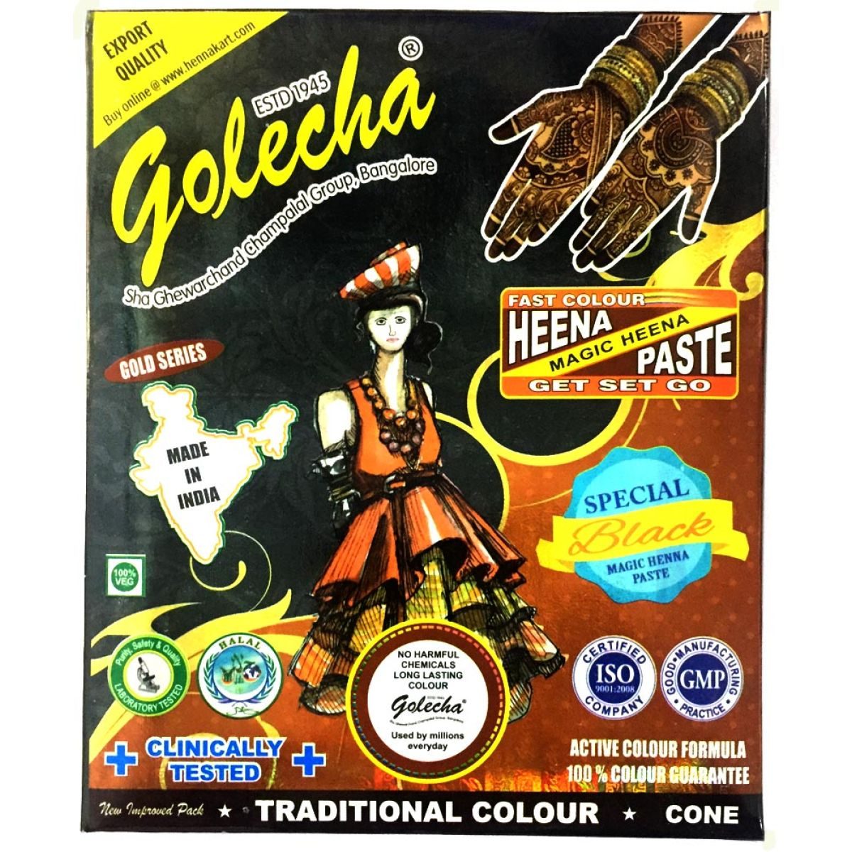 10x Golecha Special Magic Henna Paste - Schwarz (Ohne Chemie) 250g
