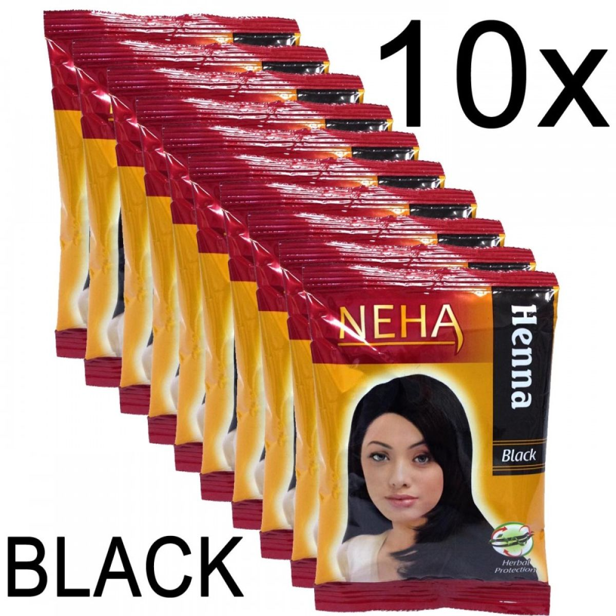 10x Neha Herbal Henna Hair Powder - Haarfärbemittel (Schwarz) 200g