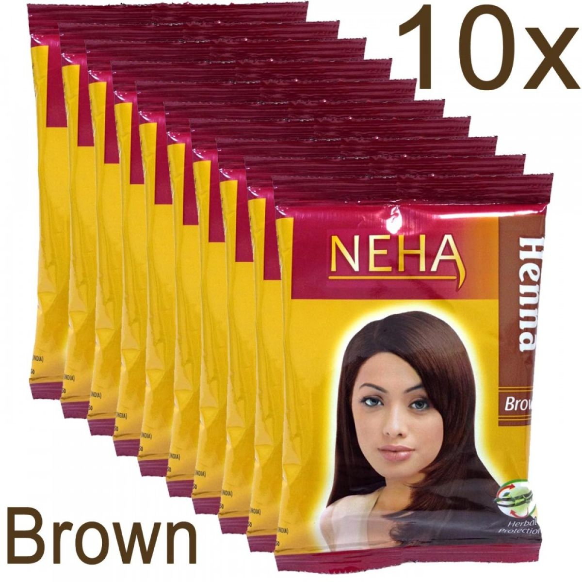 10x Neha Herbal Henna Hair Powder - Haarfärbemittel (Braun) 200g