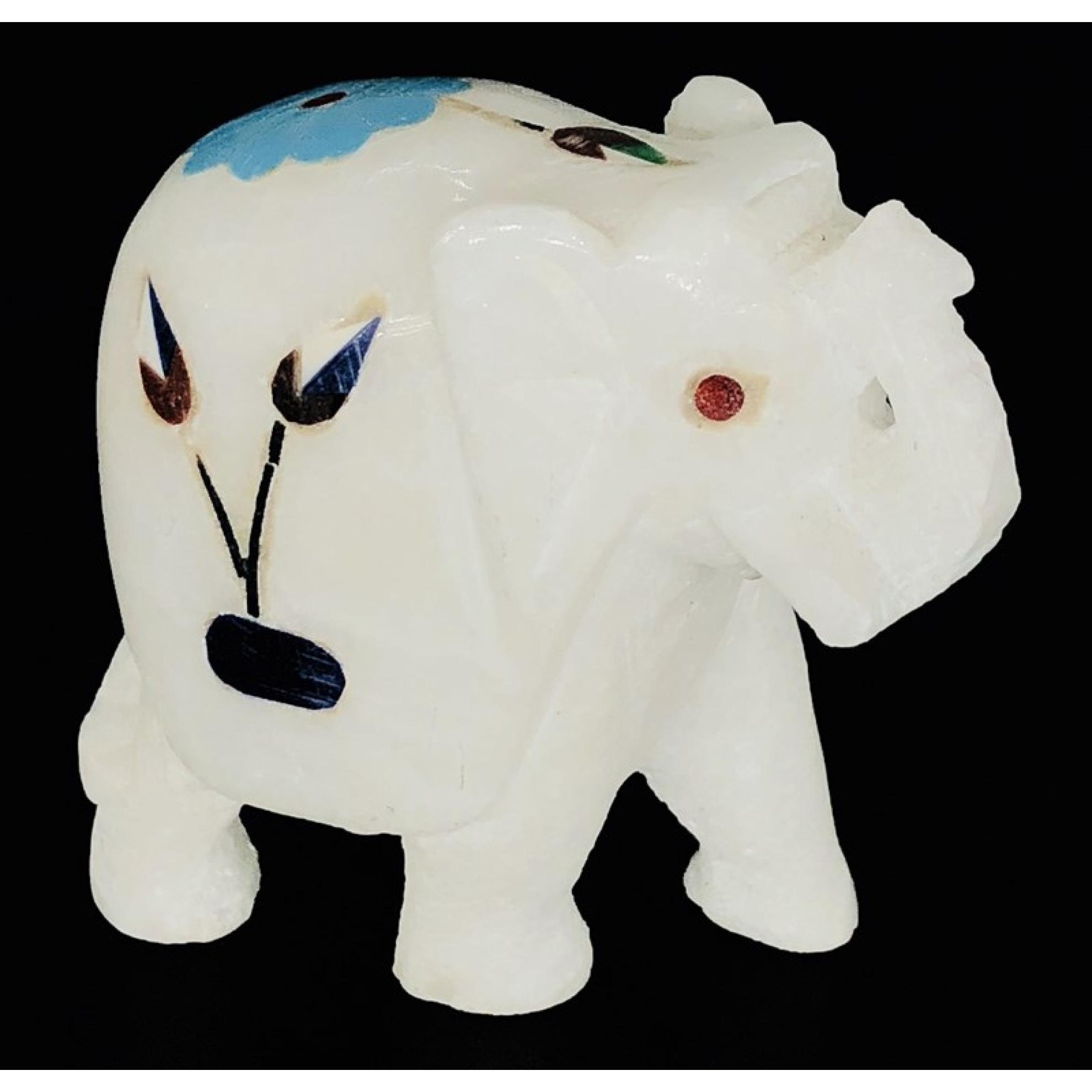 Weißer Marmor Elefanten-Statue mit bunten Mosaik Blumen
