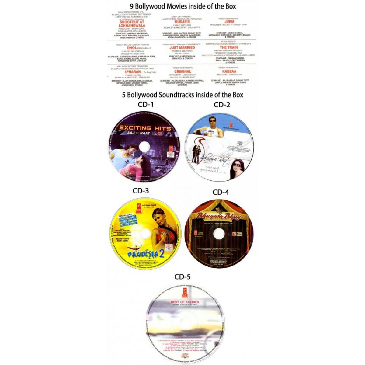 special offer 9 bollywood movies 5 audio cds box